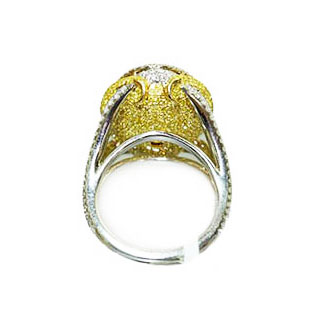 FANCY LIGHT YELLOW OVAL WITH FANCY YELLOW AND COLORLESS DIAMOND PAVE, CRAFTED IN 18K YELLOW GOLD AND PLATINUM, 18.13 CTW, BACK VIEW