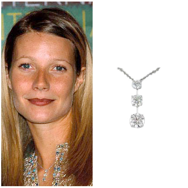 Oscar winning actress, Gwenyth Paltrow wearing SRW's classic three stone neckace set in platinum.