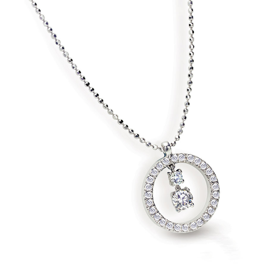 DE BELLIO PENDANT WITH ROUND DIAMOND CENTER AND DIAMOND PAVE CRAFTED IN 18K WHITE GOLD, .55 CTW