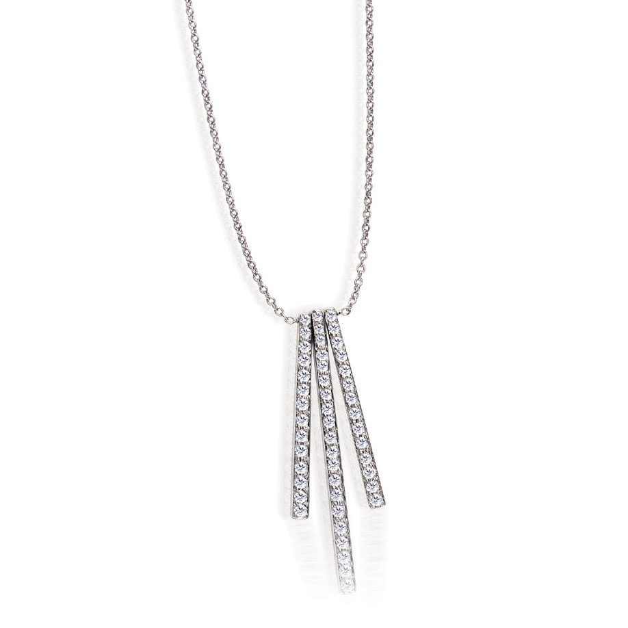 STICKS AND STONES TRILOGY PENDANT WITH DIAMOND PAVE CRAFTED IN 18K WHITE GOLD, .56 CTW