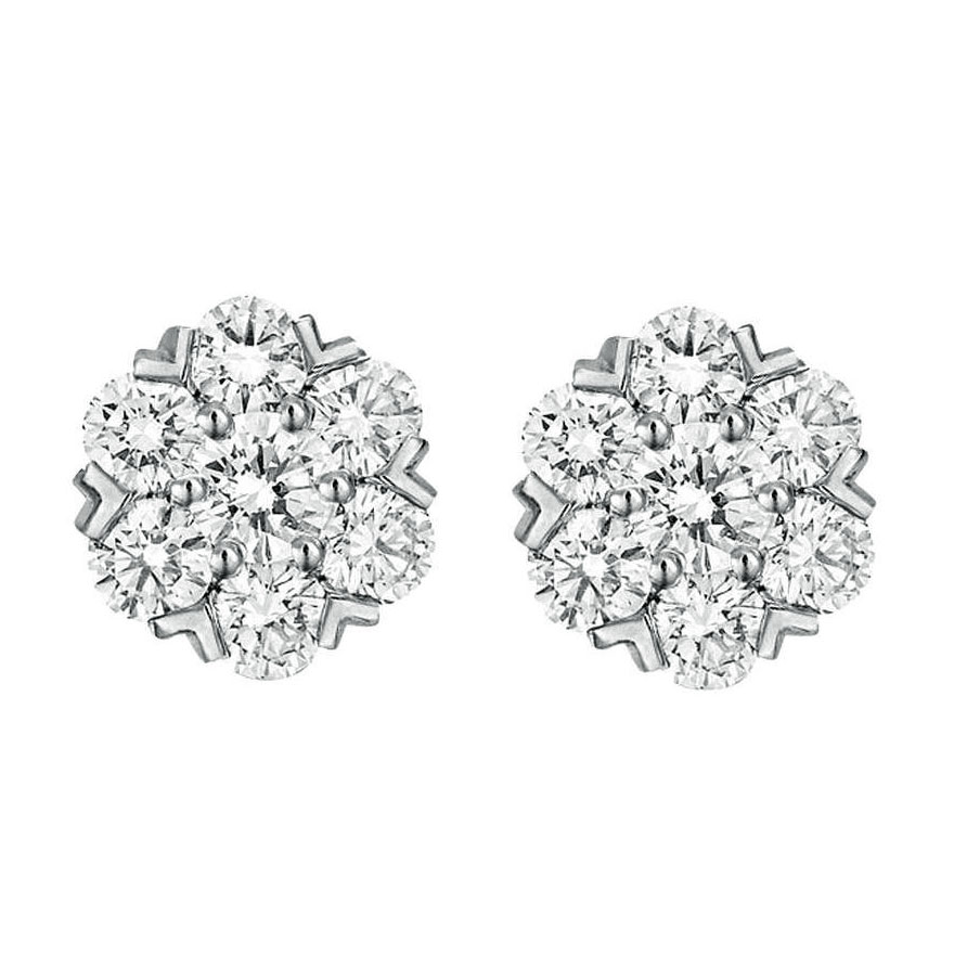 FLEURETTE STUDS WITH COLORLESS ROUND DIAMONDS, CRAFTED IN 18K WHITE GOLD, 2.53 CTW