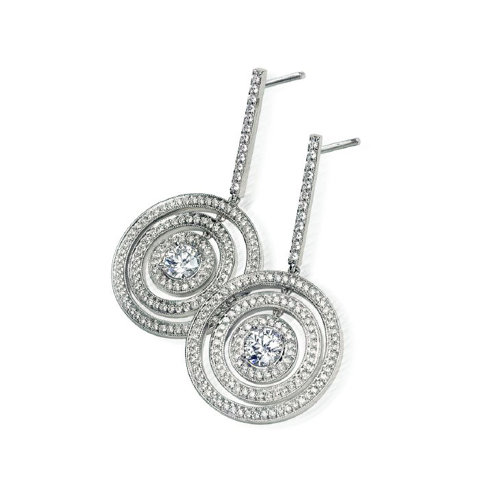 SATURN EARRINGS WITH COLORLESS ROUND DIAMOND CENTER AND MICRO-SET PAVE CRAFTED IN PLATINUM, 1.03 CTW