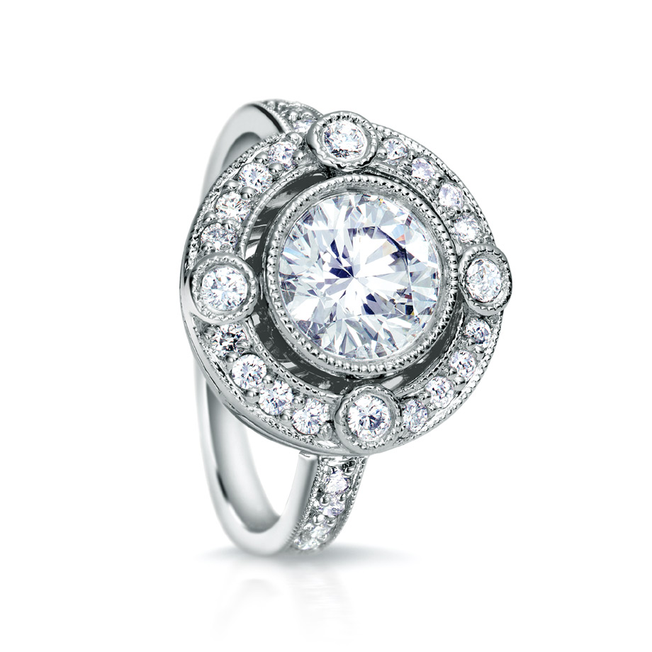 DUPREE RING WITH NEAR COLORLESS ROUND DIAMOND BEZEL SET CENTER, WITH BEZEL AND PAVE DIAMONDS AND MILGRAIN ACCENT, CRAFTED IN PLATINUM, 1.67 CTW