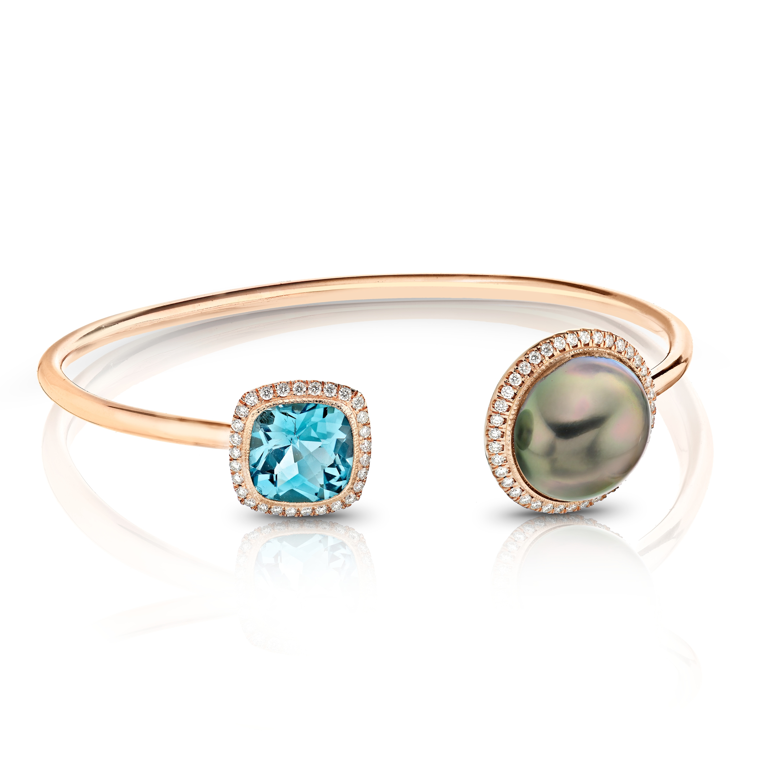 AQUAMARINE AND PEACOCK 12mm MABE PEARL OPEN BRACELET SET WITH COLORLESS DIAMOND PAVE IN 18K ROSE GOLD, 4.44 CTW