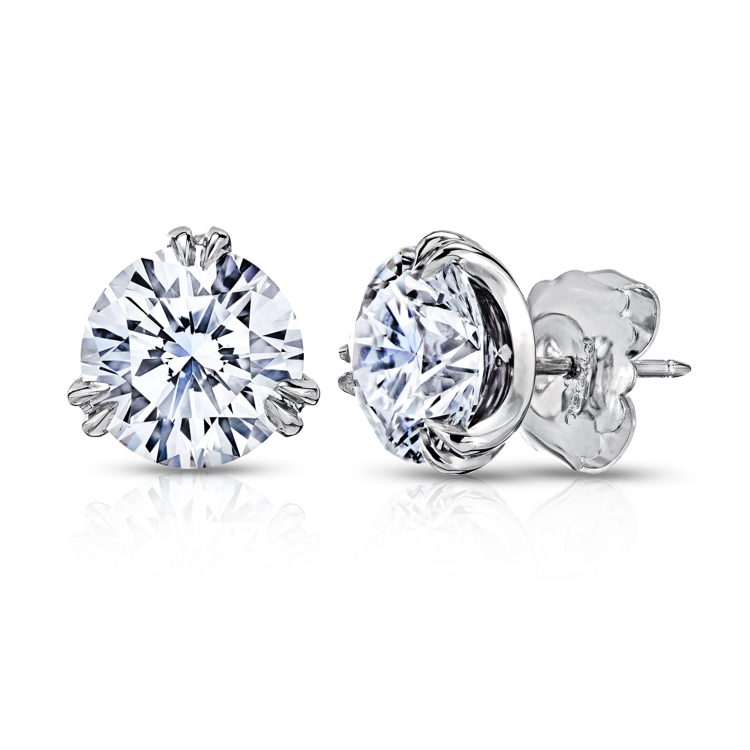 3 SPLIT PRONG DIAMOND STUD EARRINGS CRAFTED IN PLATINUM, 4.00 CTW