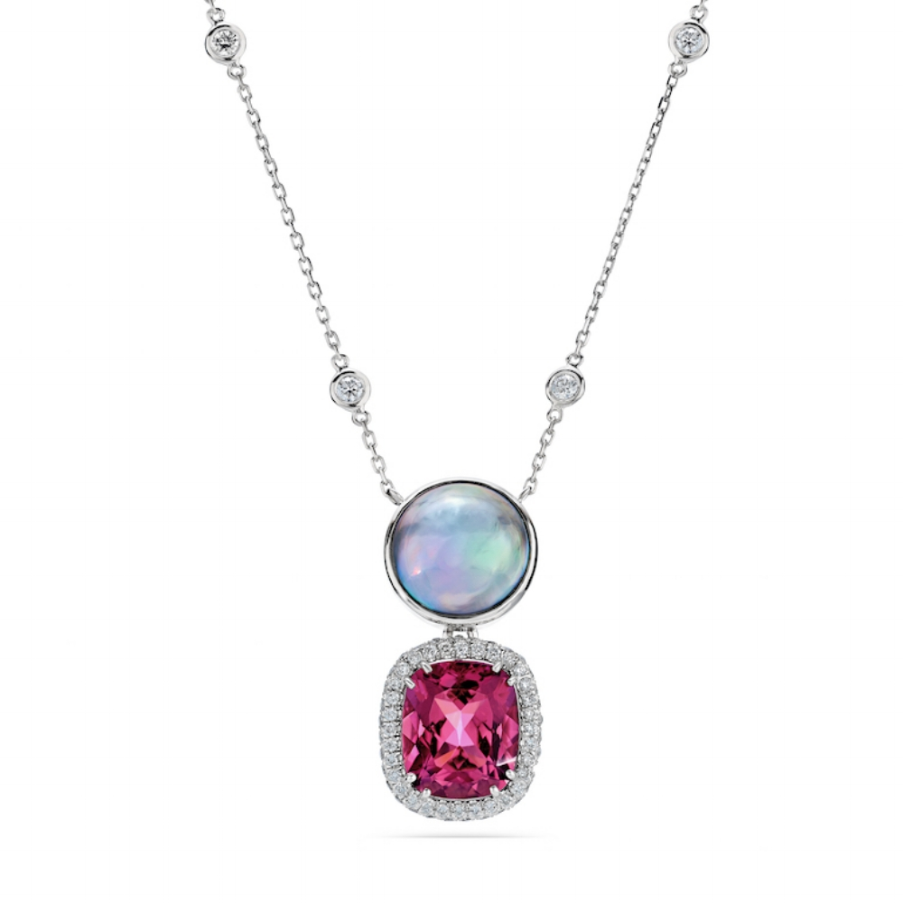 PINK TOURMALINE CUSHION CUT & JAPANESE PEACOCK MABE PEARL PENDANT WITH DIAMONDS BY THE YARD CHAIN NECKLACE CRAFTED IN PLATINUM, 8.48 CTW