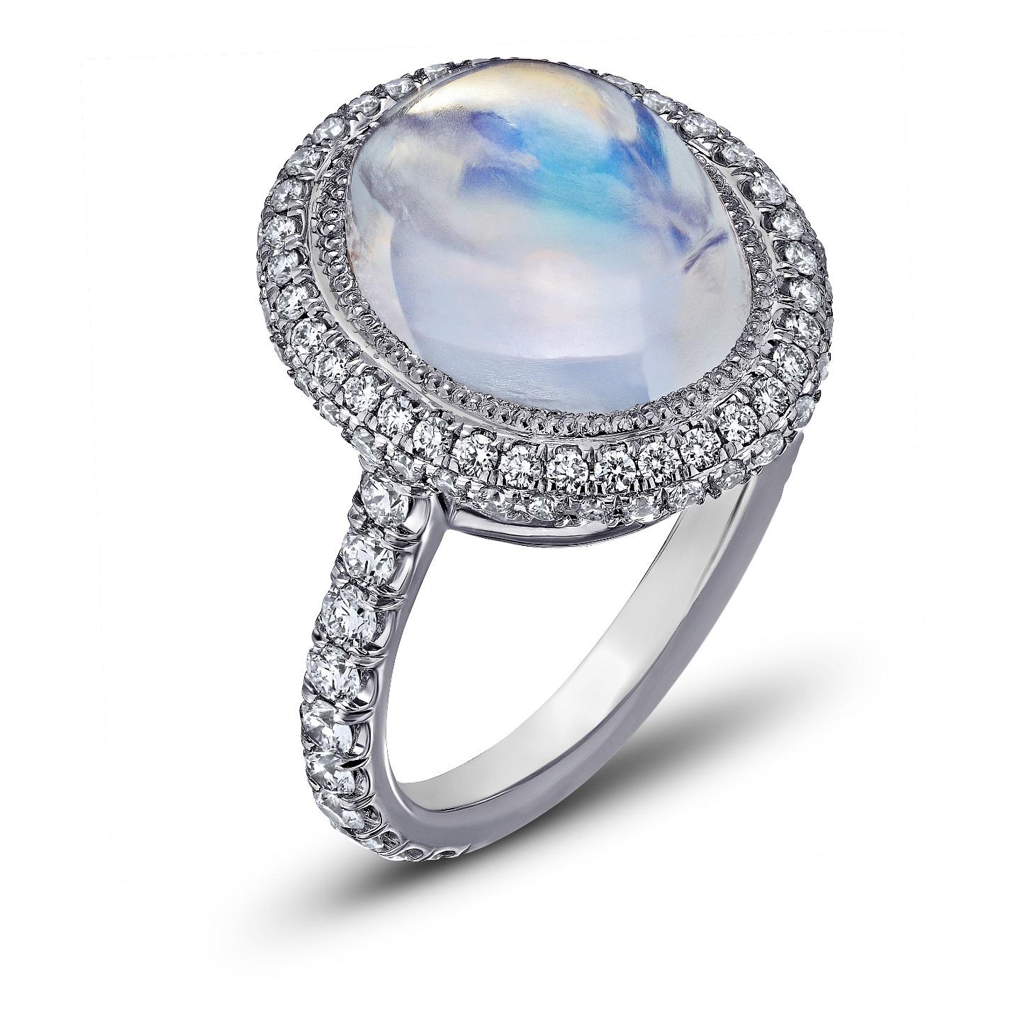 ROYAL BLUE OVAL MOONSTONE & DIAMOND MICRO PAVE RING CRAFTED IN PLATINUM, 7.26 CTW