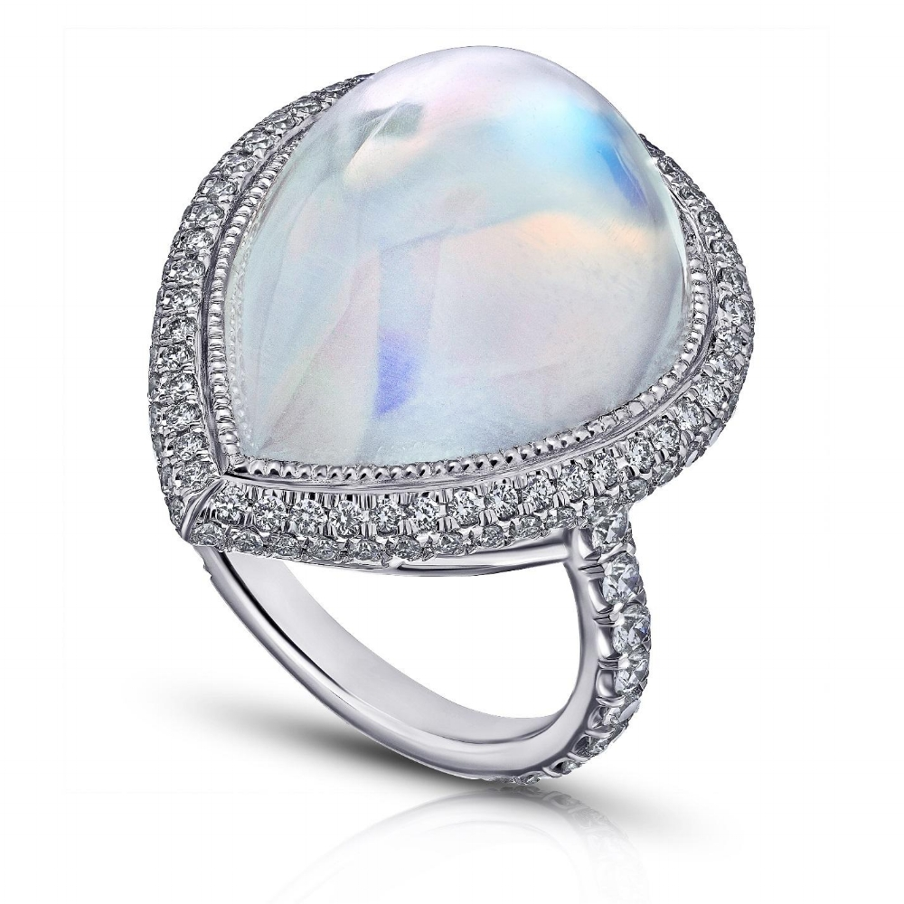 ROYAL BLUE PEAR SHAPED MOONSTONE & DIAMOND MICRO PAVE RING CRAFTED IN PLATINUM, 22.03 CTW