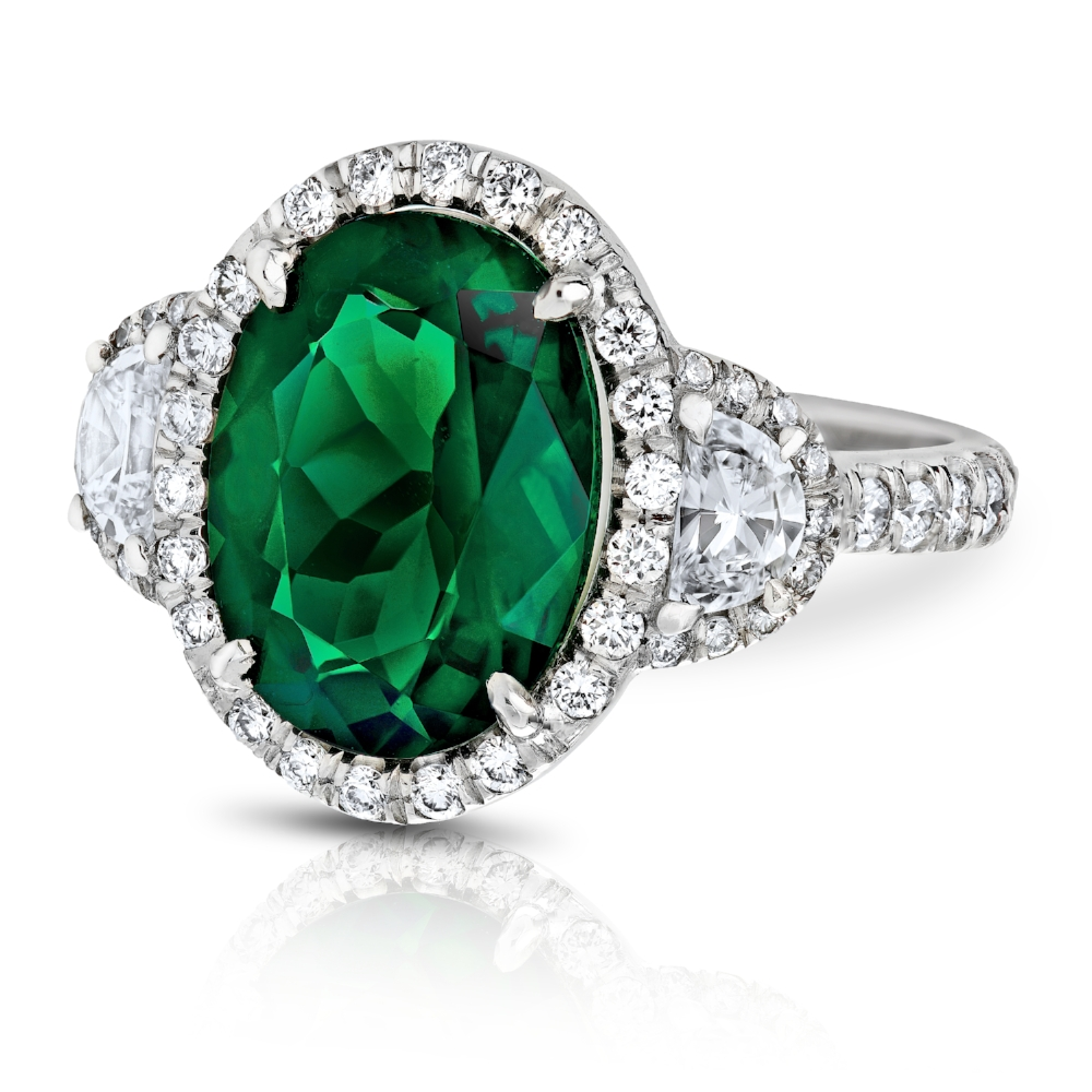 RARE CHROME TOURMALINE OVAL RING WITH HALF-MOON AND ROUND DIAMOND PAVE CRAFTED IN PLATINUM, 5.24 CTW