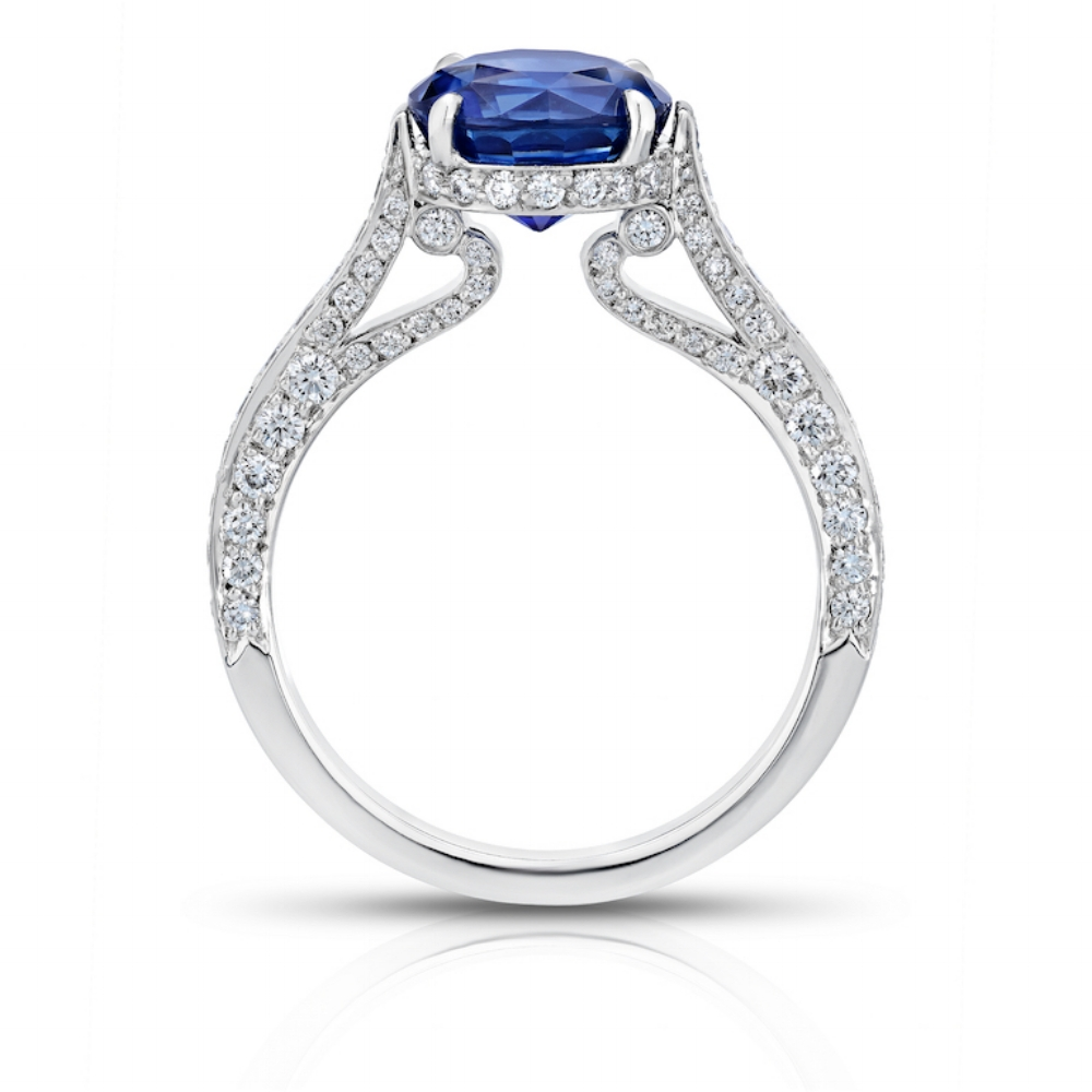 EMPRESS RING WITH ROUND BRILLIANT CEYLON SAPPHIRE CENTER AND MICRO-SET DIAMOND PAVE CRAFTED IN PLATINUM, 2.88 CTW