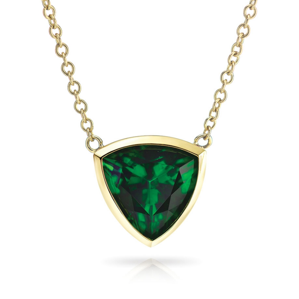 CHROME TOURMALINE TRILLION NECKLACE CRAFTED IN 18K YELLOW GOLD, 4.43 CTS