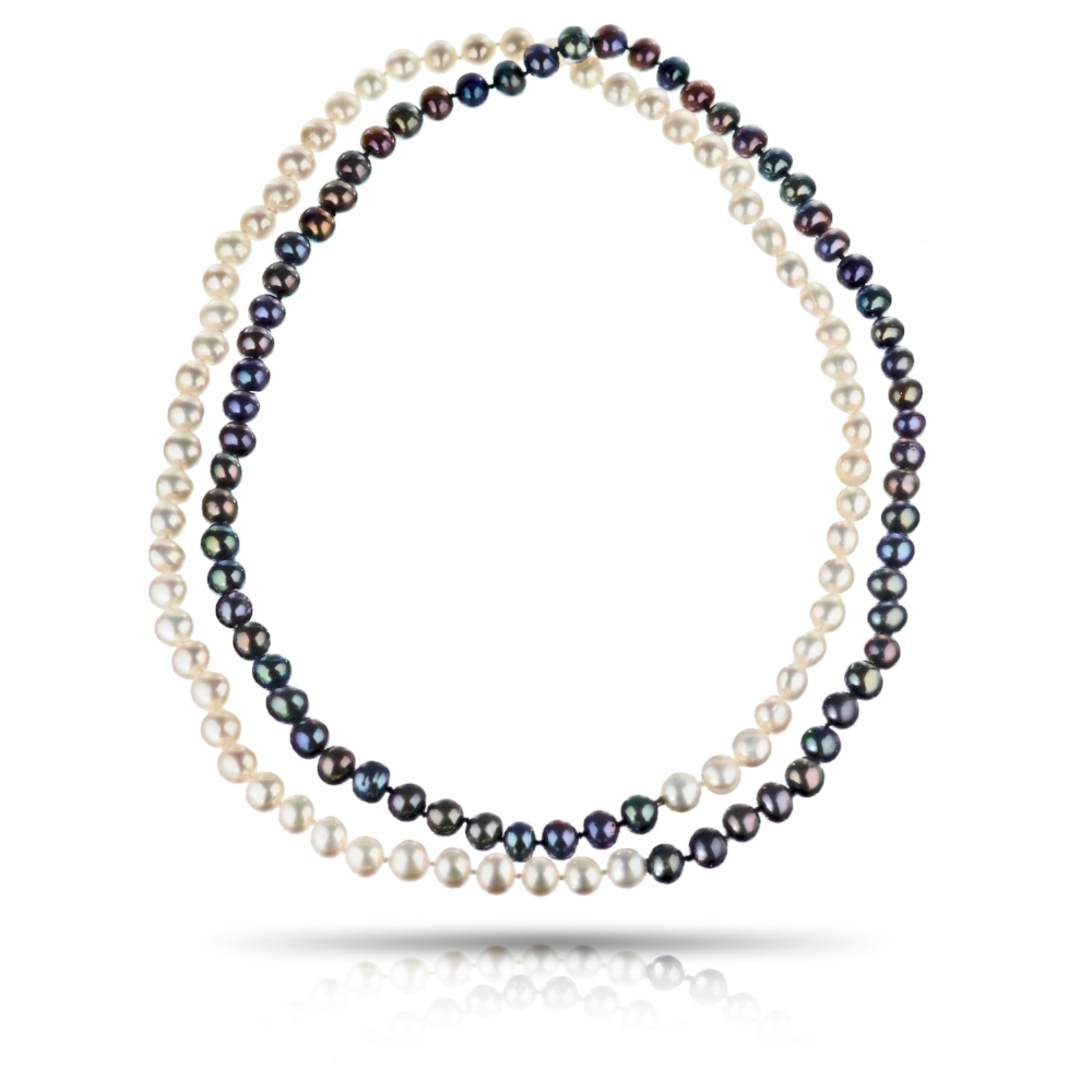 WHITE & PEACOCK PEARL NECKLACE WITH MYSTERY CLASP