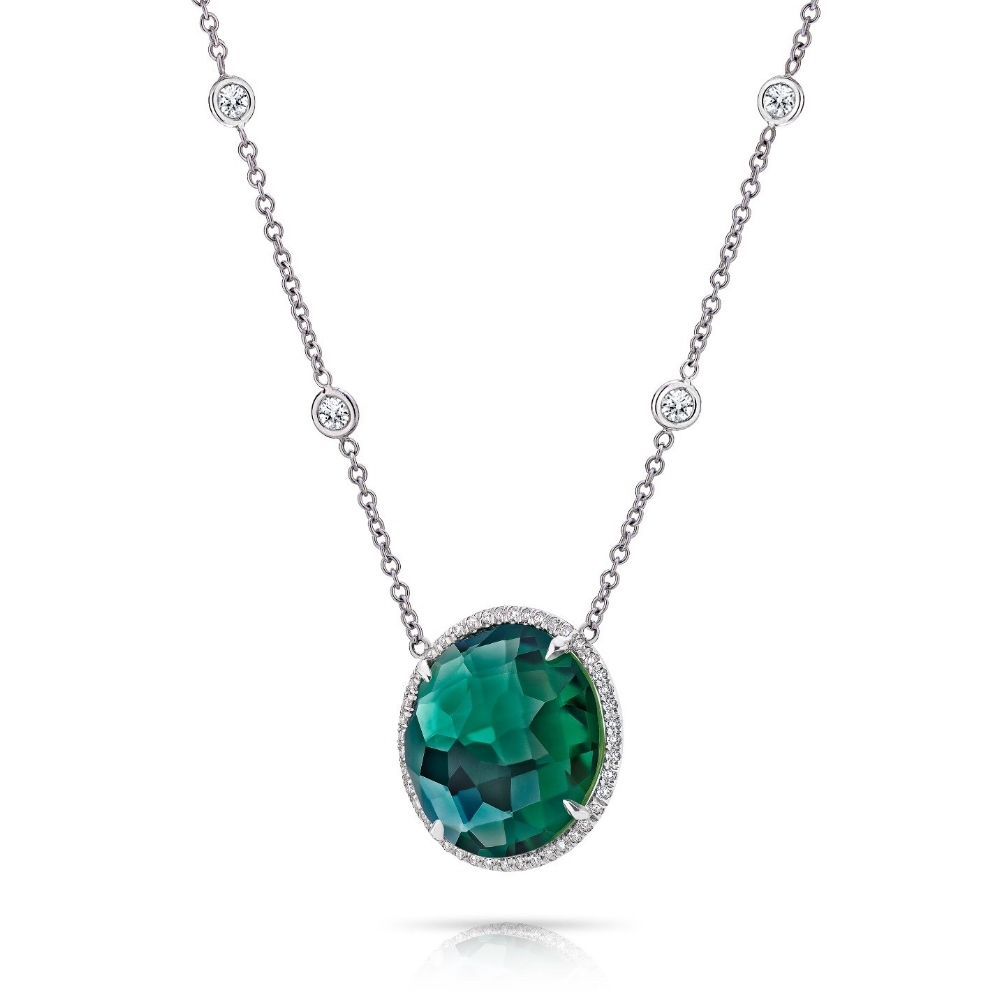 GREEN QUARTZ AND MICRO DIAMOND PAVE HALO PENDANT AND DIAMOND BY THE YARD CHAIN NECKLACE WITH 16 ROSE CUT DIAMONDS CRAFTED IN 18K WHITE GOLD, 11.61 CTW