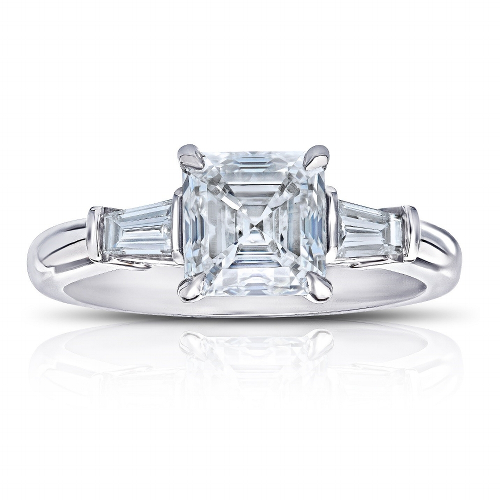 ASSCHER CUT CENTER DIAMOND WITH TAPERED BAGUETTE SIDE DIAMONDS CRAFTED IN PLATINUM, 2.23 CTW