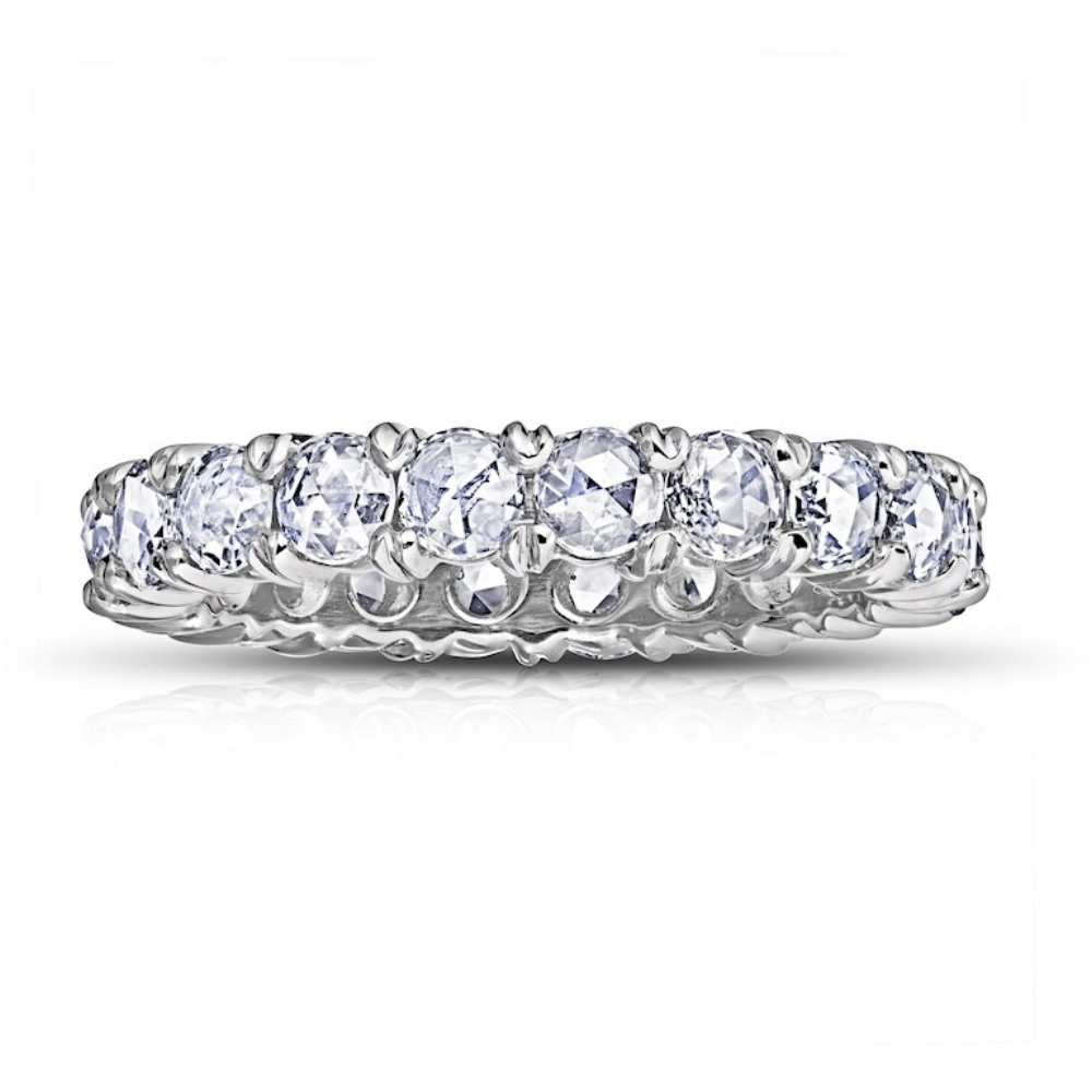 ROSE-CUT DIAMOND ETERNITY BAND CRAFTED IN PLATINUM, 1.43 CTW