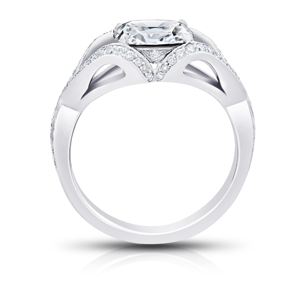 EAST MEETS WEST RING WITH OVAL CUT CENTER DIAMOND AND DIAMOND PAVE CRAFTED IN PLATINUM, 1.72 CTW, PROFILE VIEW