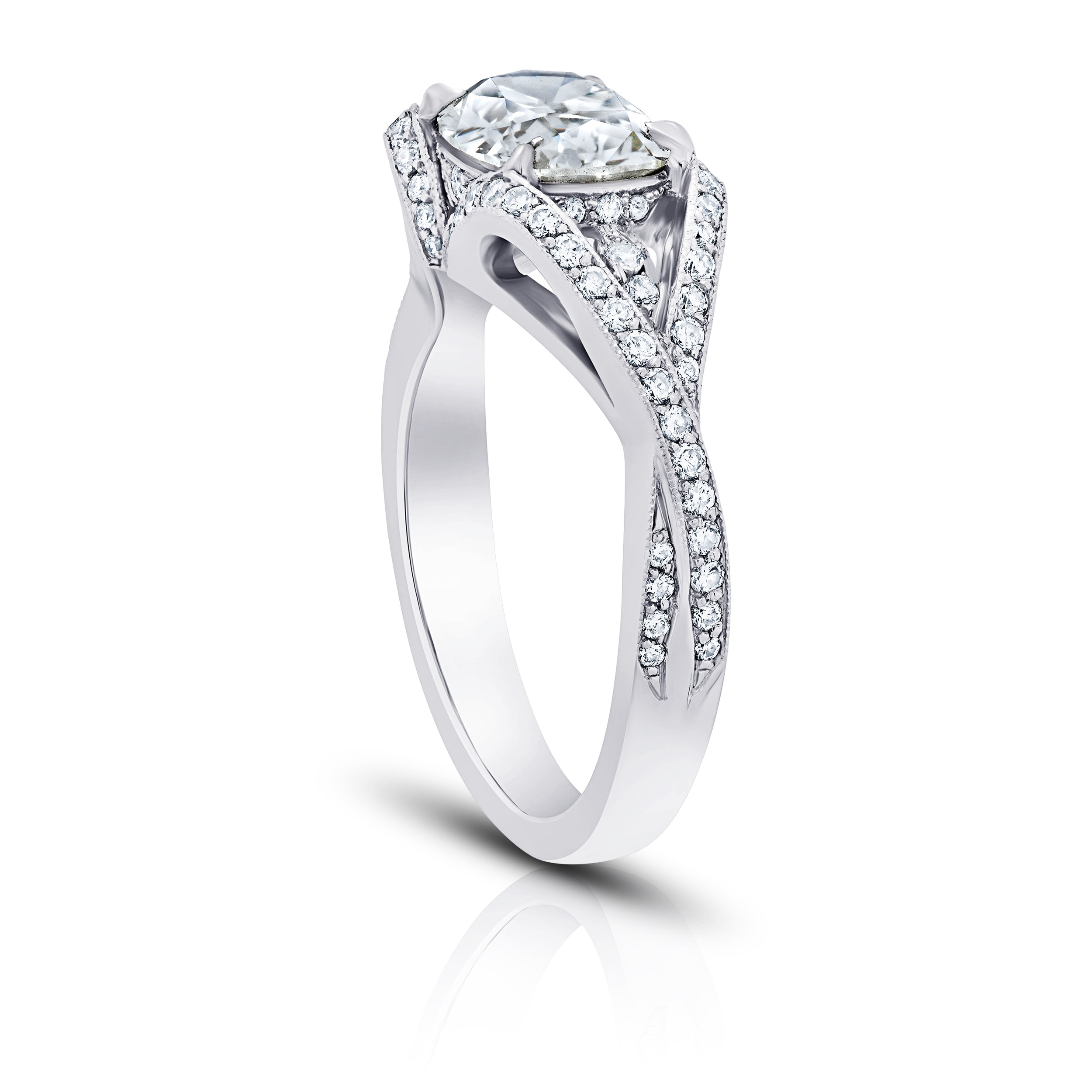 EAST MEETS WEST RING WITH OVAL CUT CENTER DIAMOND AND DIAMOND PAVE CRAFTED IN PLATINUM, 1.72 CTW, SIDE VIEW