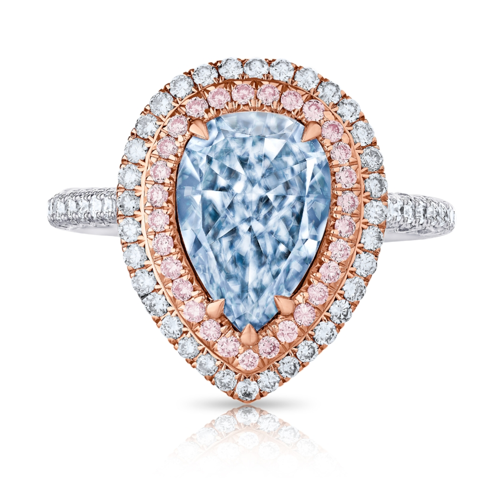 FANCY LIGHT BLUE PEAR SHAPE CENTER DIAMOND WITH COLORLESS AND PINK DIAMOND PAVE CRAFTED IN 18K ROSE GOLD AND PLATINUM, 3.18 CTW