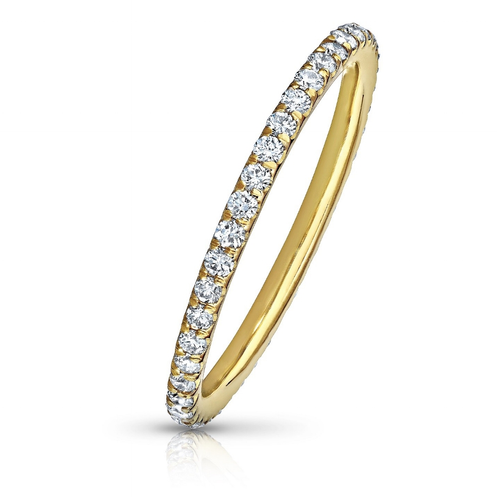 COLORLESS DIAMOND ETERNITY BAND WITH MODERN CUT DOWN PAVE  CRAFTED IN 18K YELLOW GOLD, 1.50 CTW