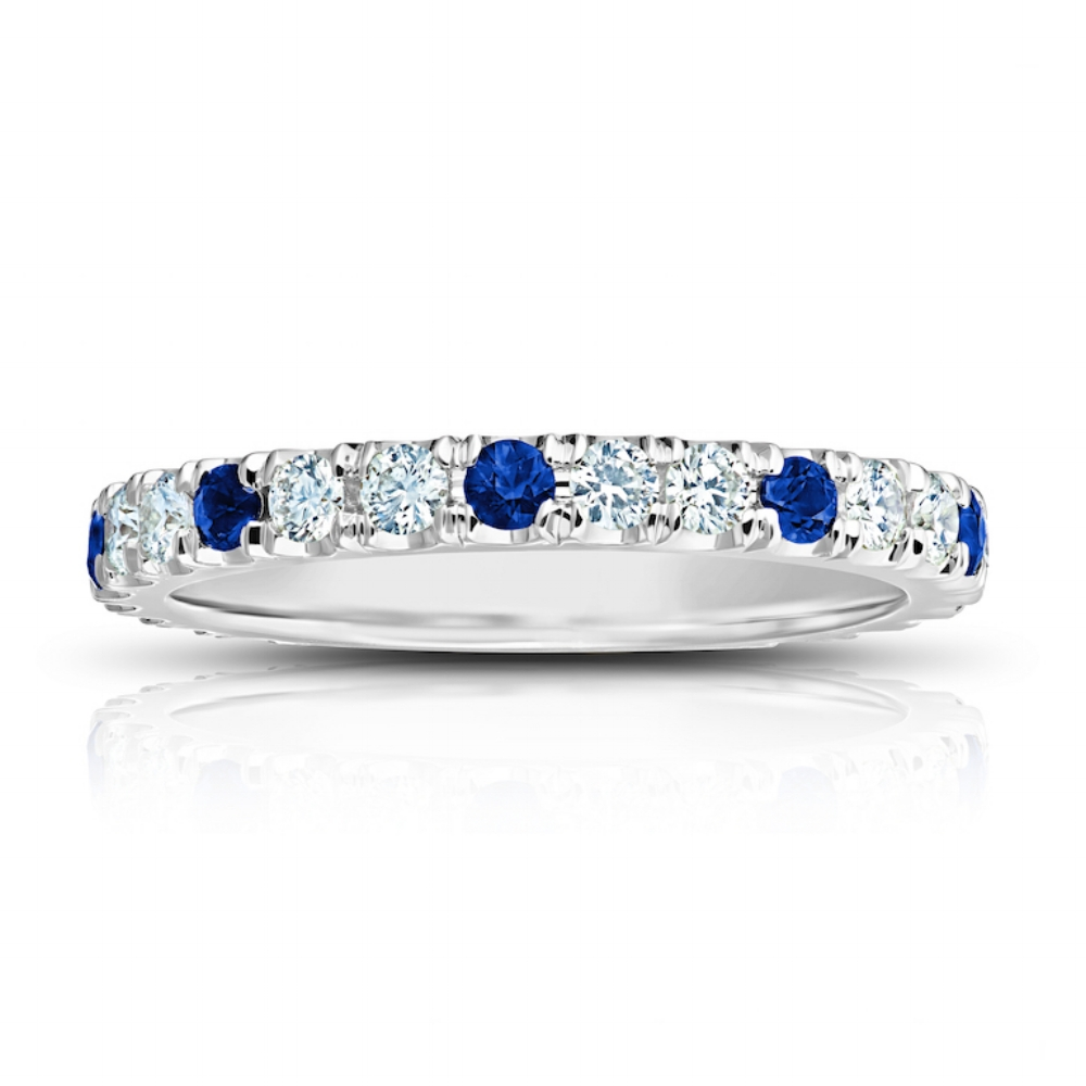 CEYLON SAPPHIRE AND DIAMOND ETERNITY BAND CRAFTED IN 18K WHITE GOLD,  0.98 CTW