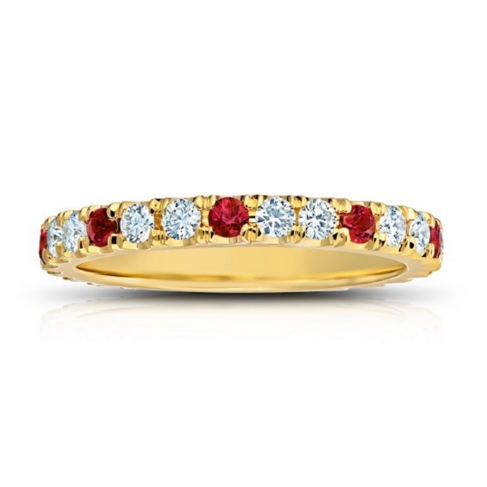 RUBY AND DIAMOND ETERNITY BAND CRAFTED IN 18K YELLOW GOLD,  0.98 CTW