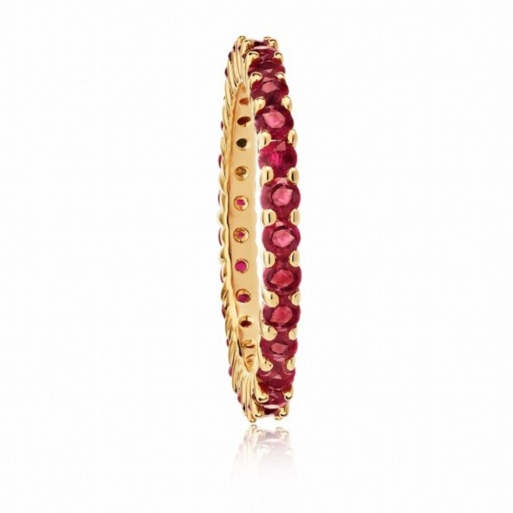 RUBY  ETERNITY BAND CRAFTED IN 18K  ROSE GOLD, 1.45 CTW