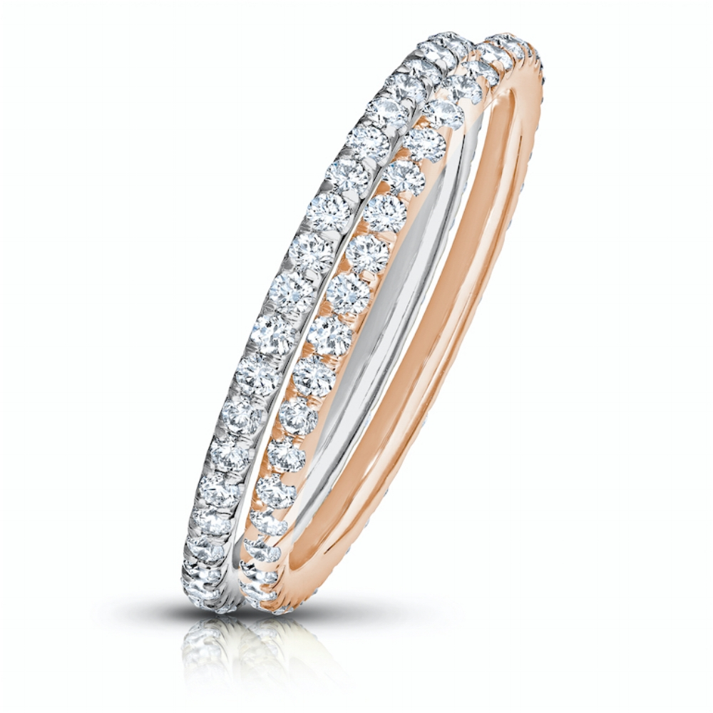 COLORLESS DIAMOND ETERNITY STACKING BANDS WITH MODERN CUT DOWN PAVE  CRAFTED IN 18K WHITE GOLD & ROSE  GOLD, 1.50 CTW EACH