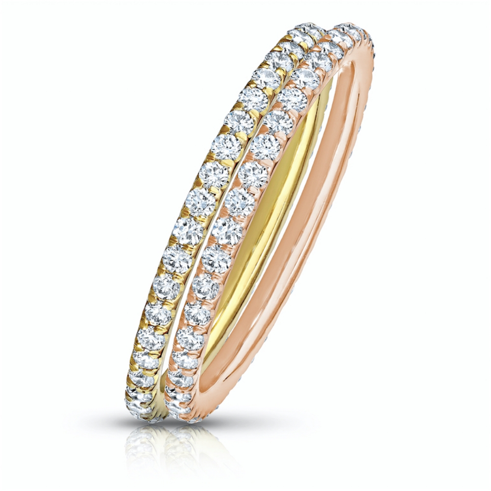 COLORLESS DIAMOND ETERNITY STACKING BANDS WITH MODERN CUT DOWN PAVE  CRAFTED IN 18K YELLOW GOLD & ROSE  GOLD, 1.50 CTW EACH