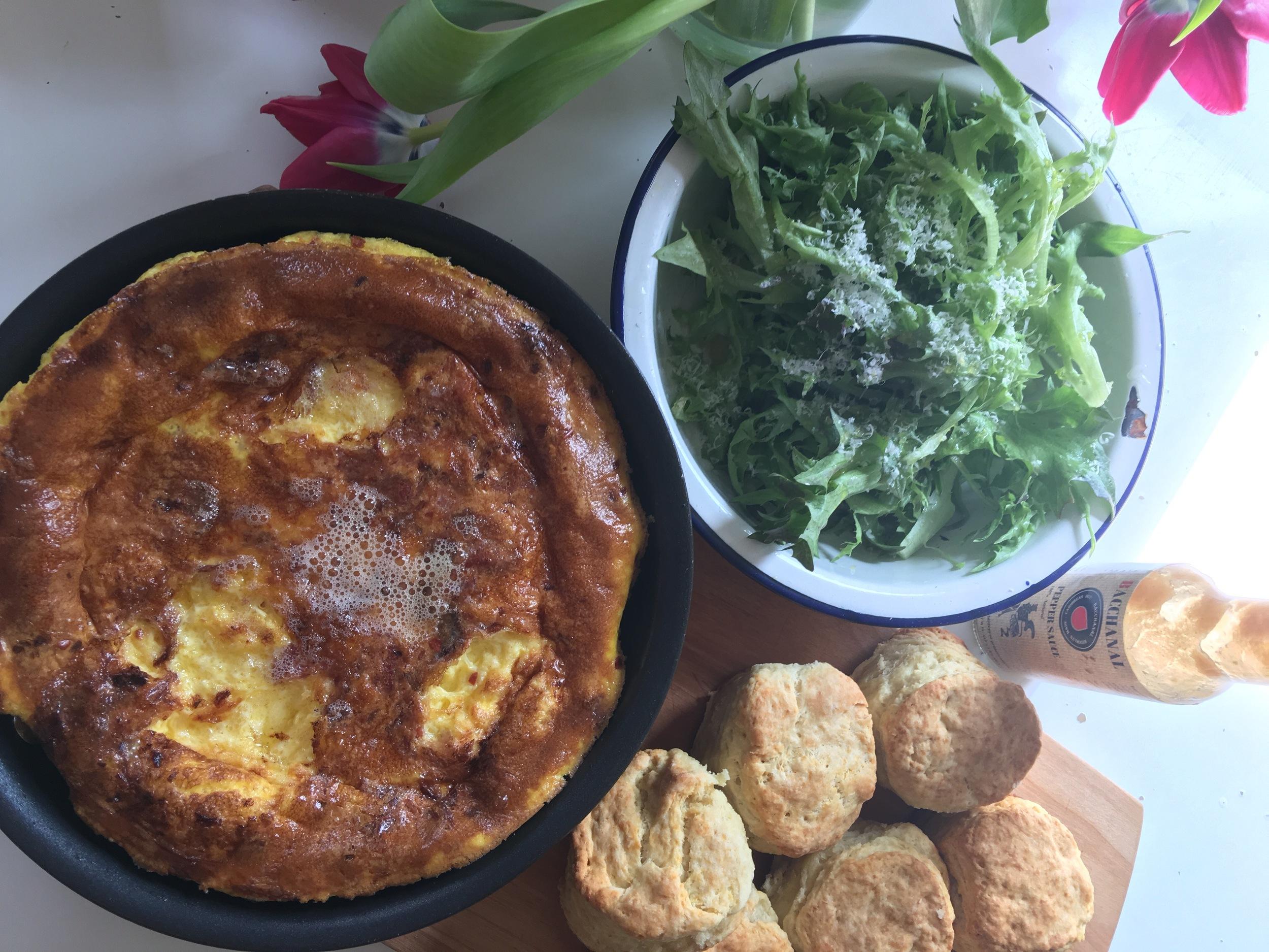 Nicole's last make:Veggie frittata, greens, and biscuits.