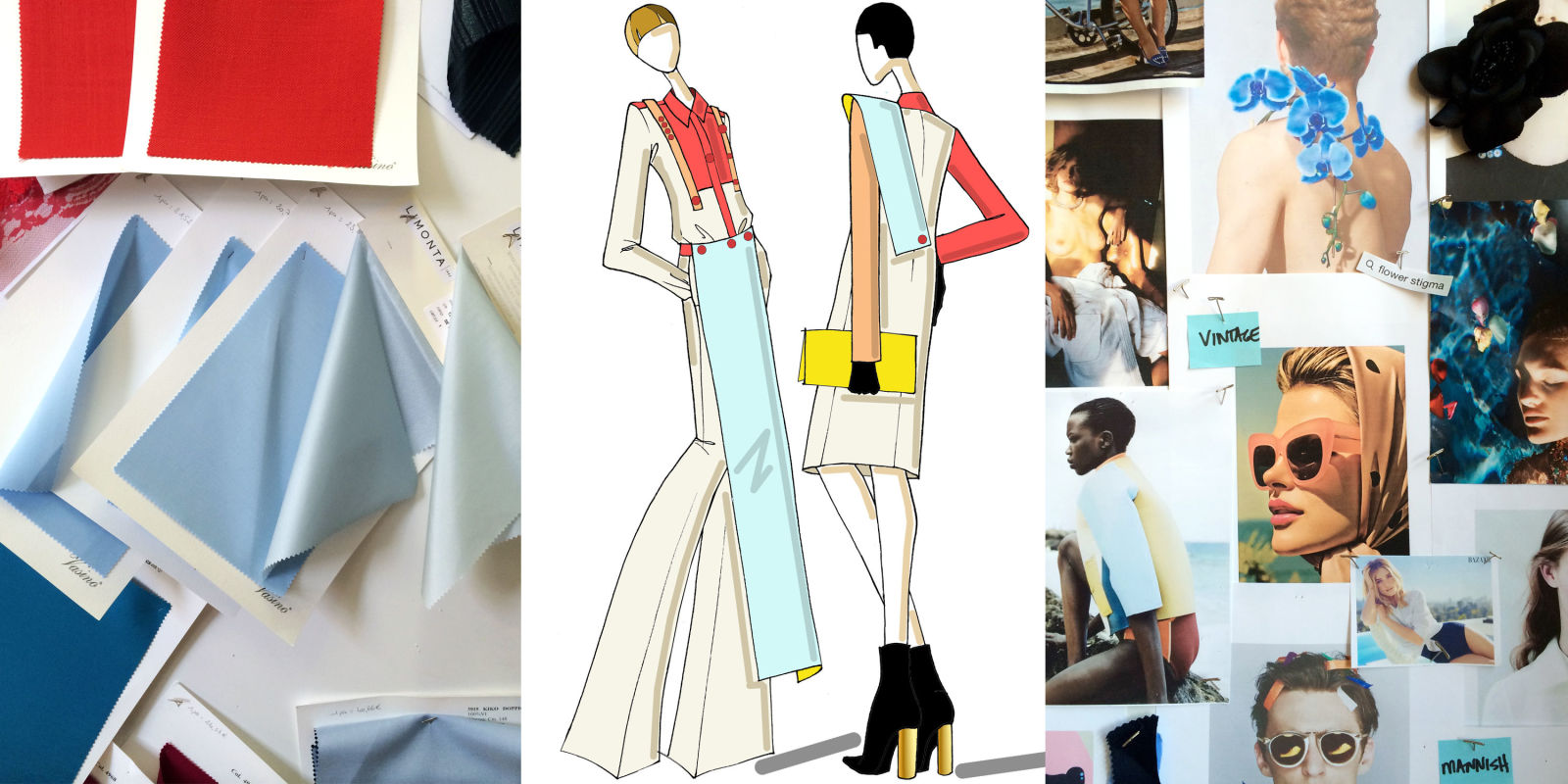 Fabrics,sketches and mood boards. Courtesy of Charles Harbison/Harper's Bazaar.