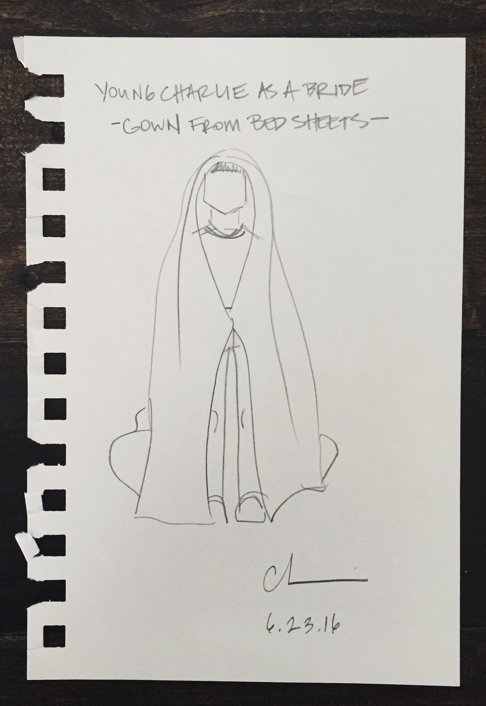 Charles's First Make: Wedding gown from bed sheets, Age 5