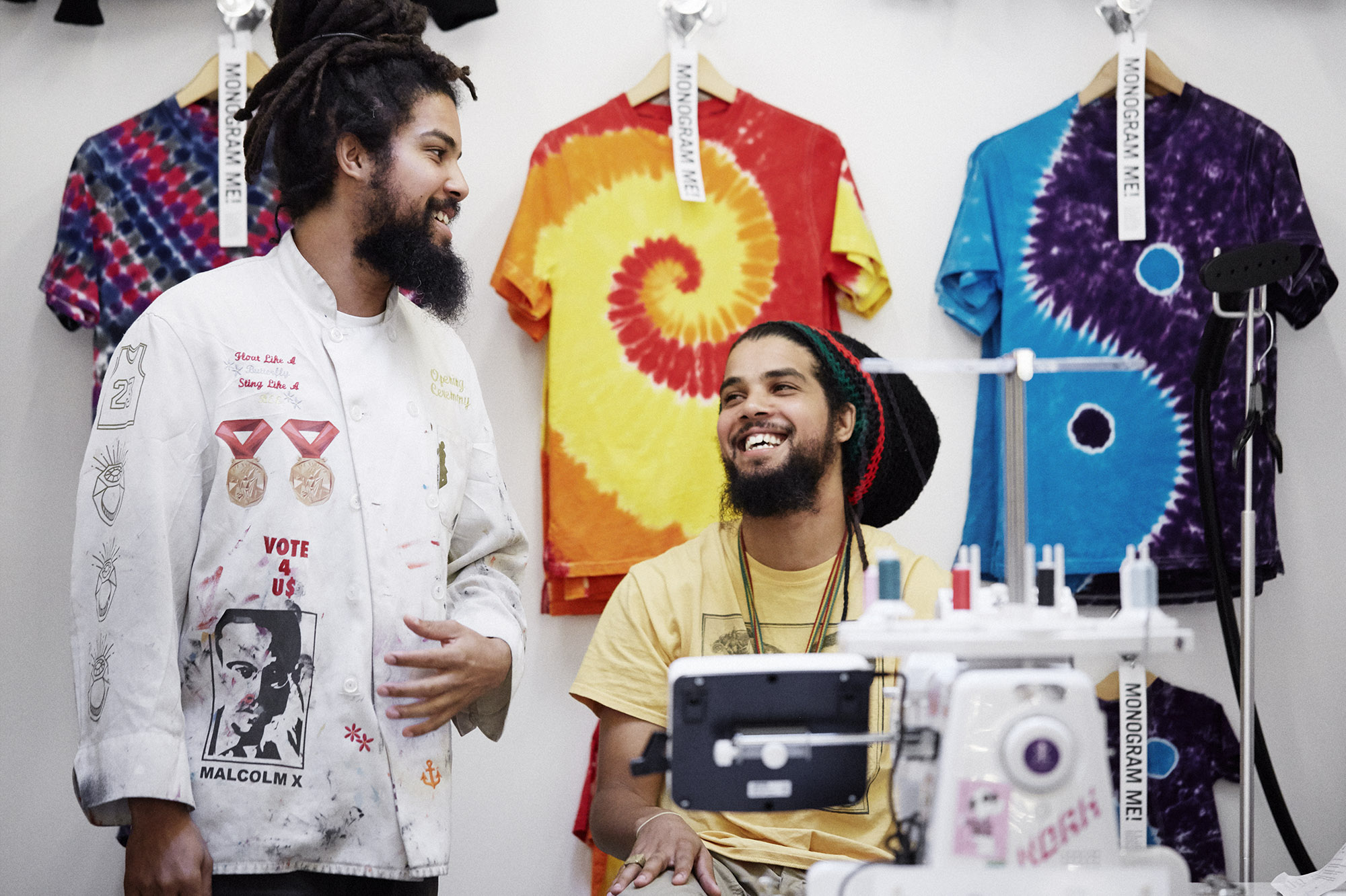The Griggs Brothers, Chris and Clayton at their Embroidery space in Opening Ceremony.