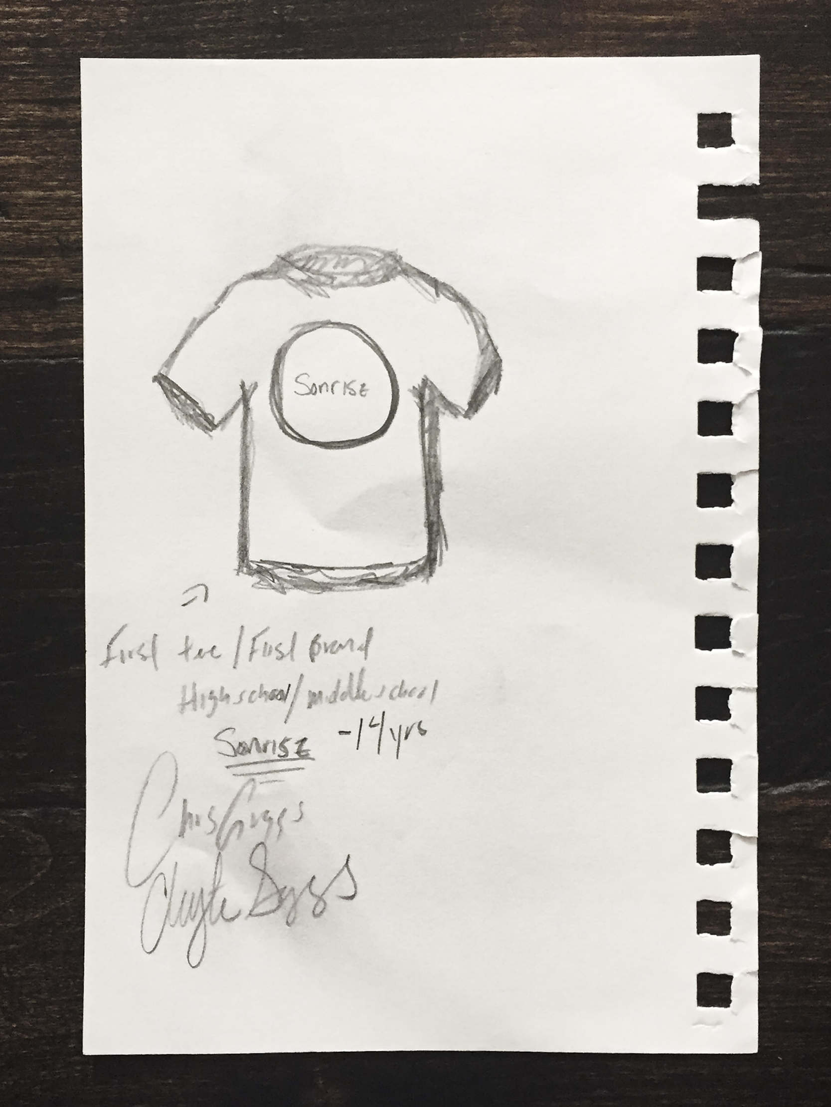 """Chris and Clayton's First Make: """"Sunrise"""" t-shirt, Age 14."""