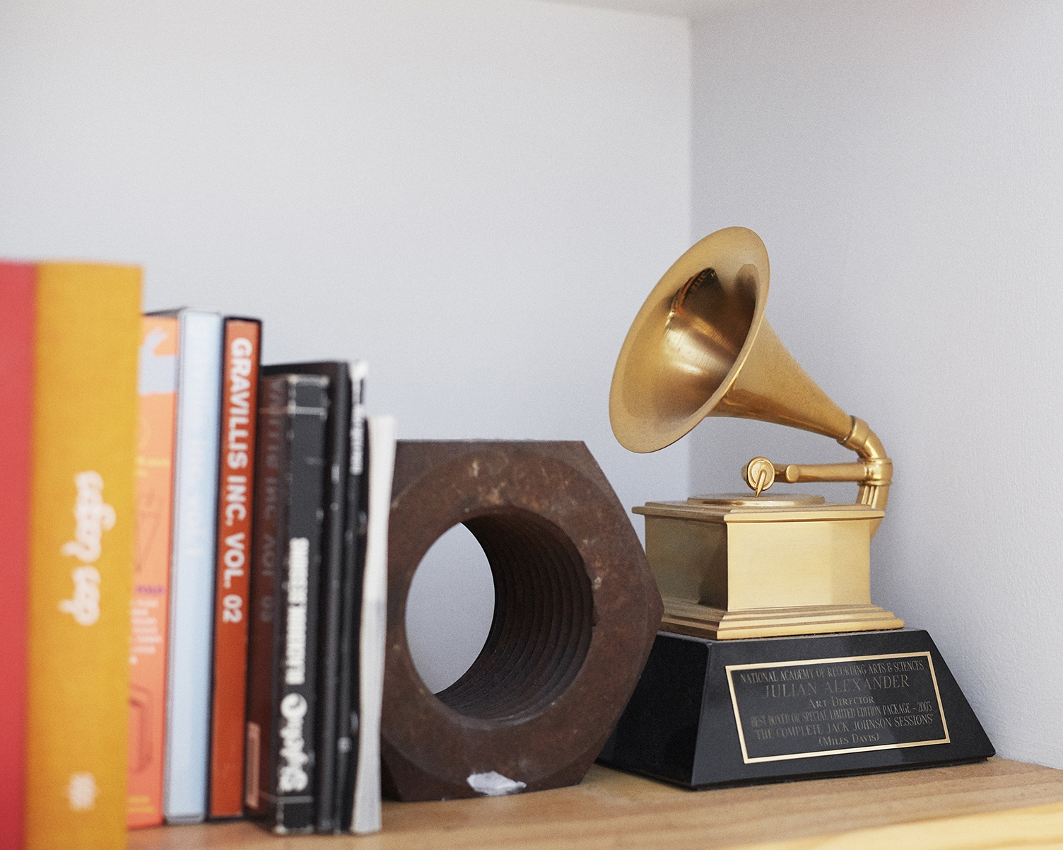 Julian's Grammy for his Art Direction in 2004 on Miles Davis's Complete Jack Johnson Sessions.