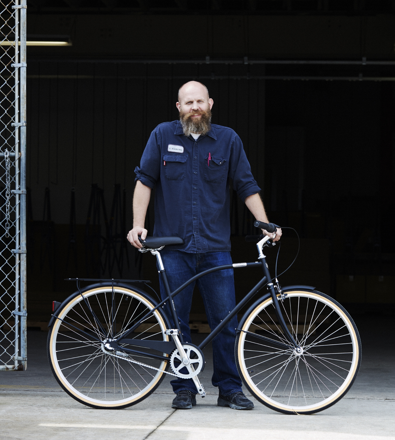 Chris poses with the Type-A in front of the Detroit Bikes Factory.