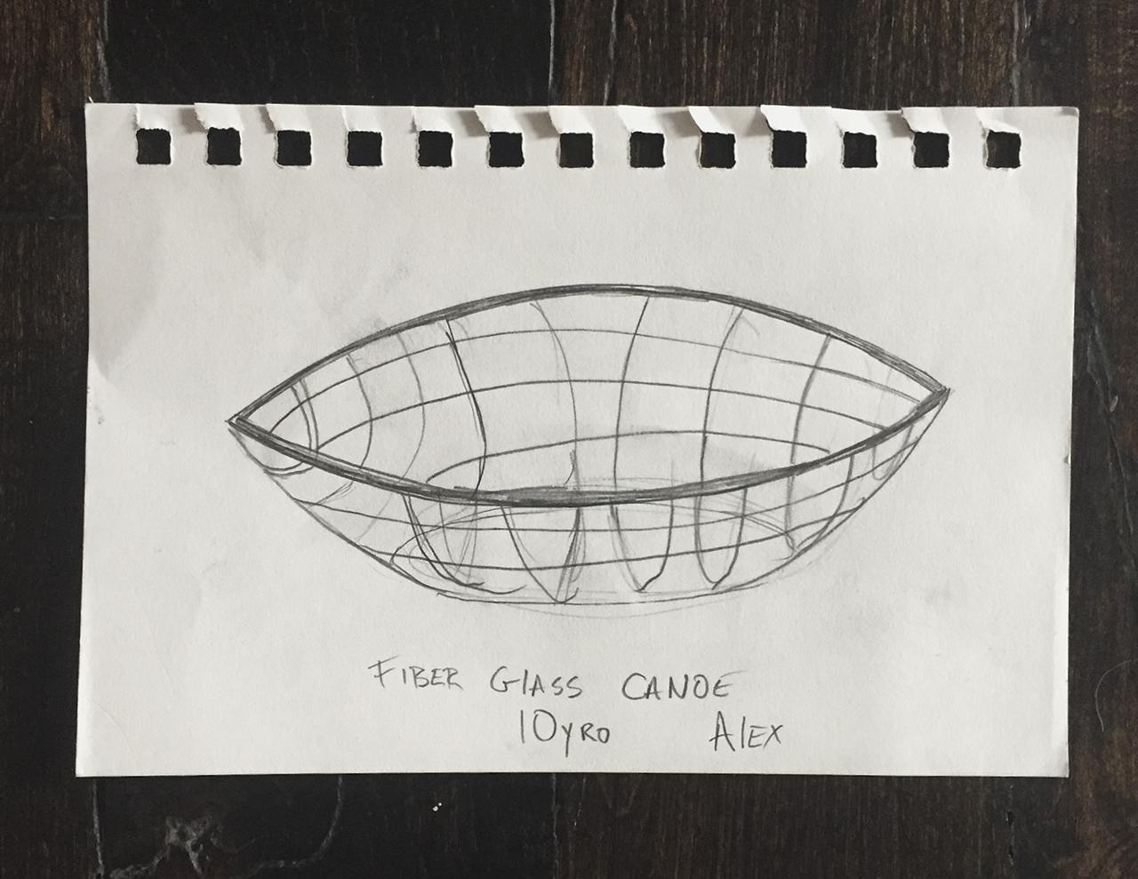Alex's First Make: A Fiber-glass canoe, Age 10.
