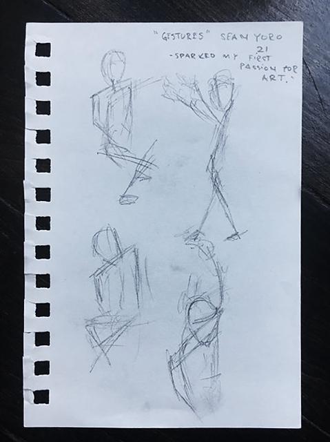 Sketch of Sean's first make - gestural drawings.