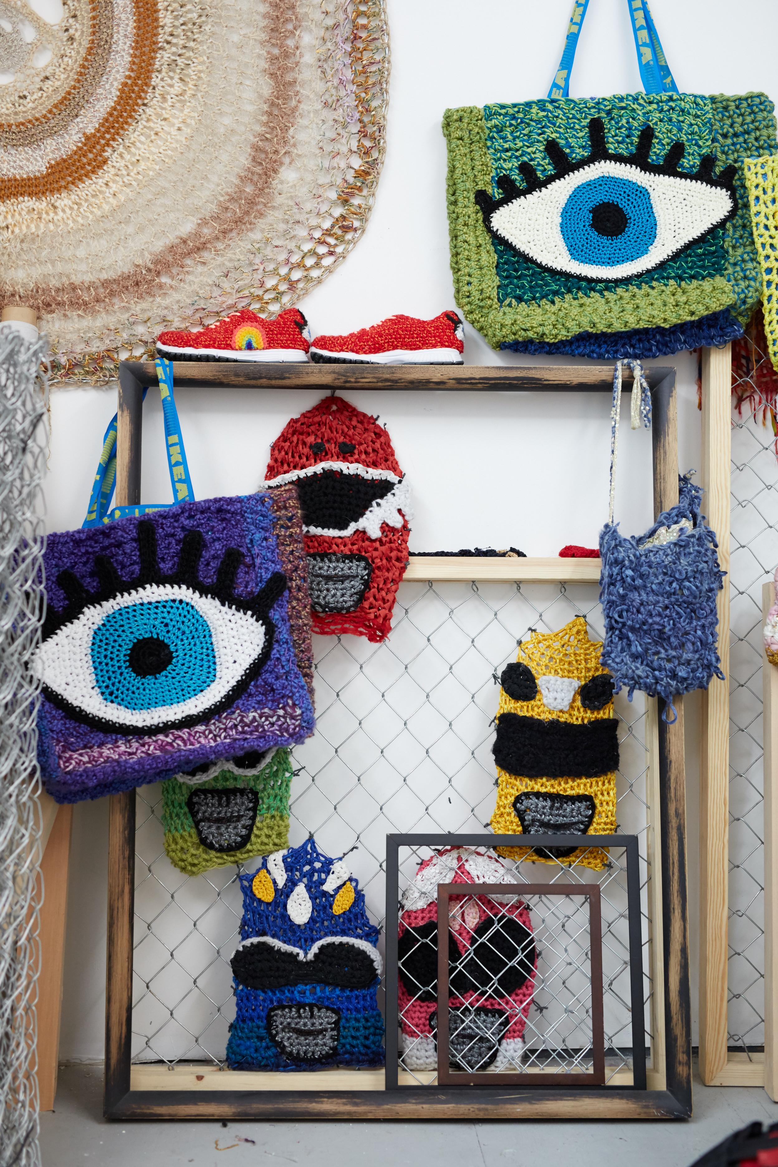 London's studio of yarn bombings.