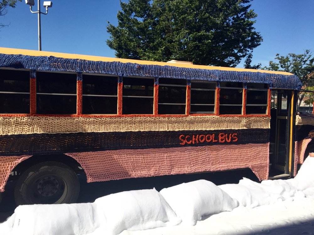 Crocheted school bus for Gap Holiday Commercial. Courtesy of London Kaye.