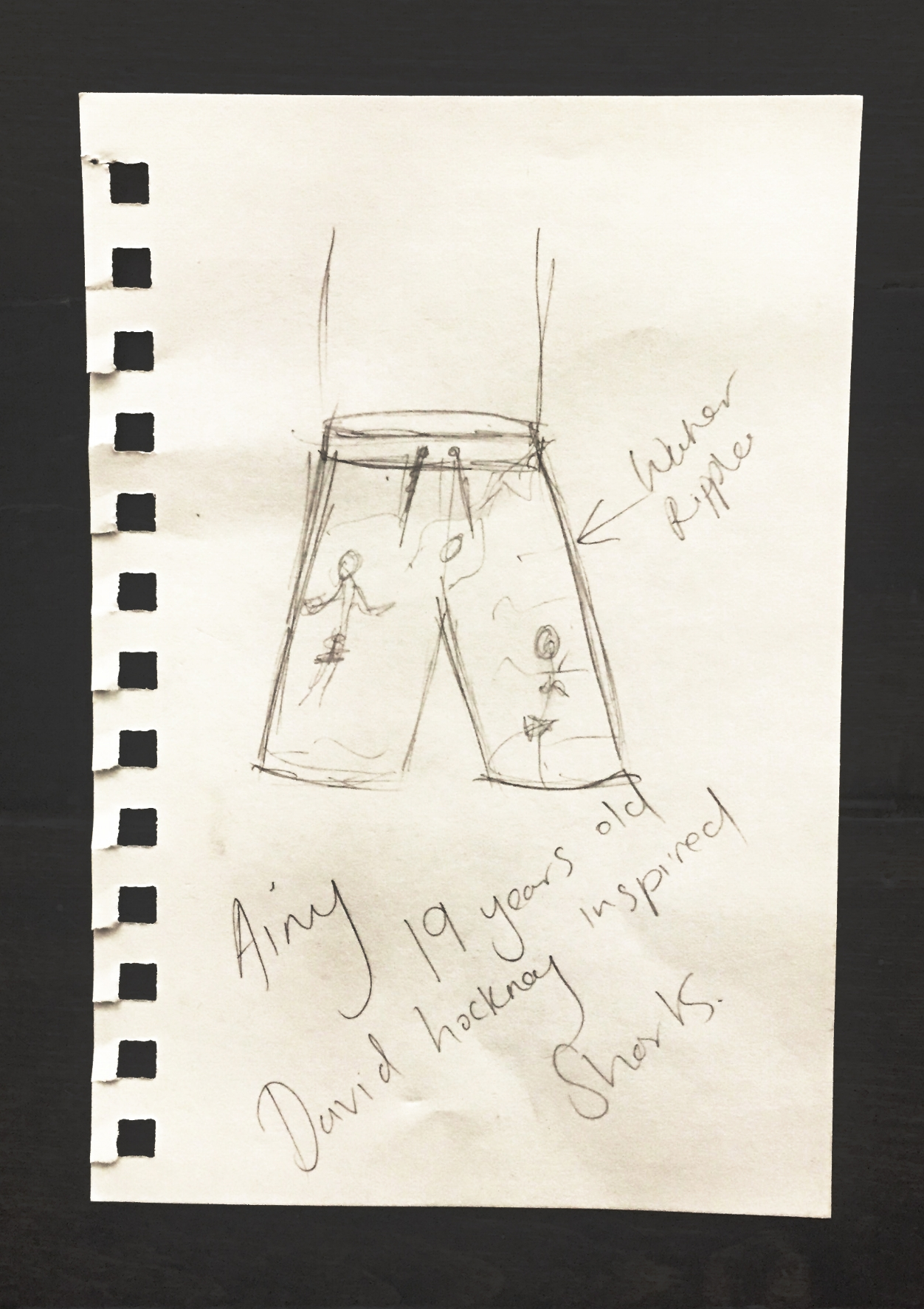 Ainy's First Make: David Hockney inspired swimming trunks, Age 19.