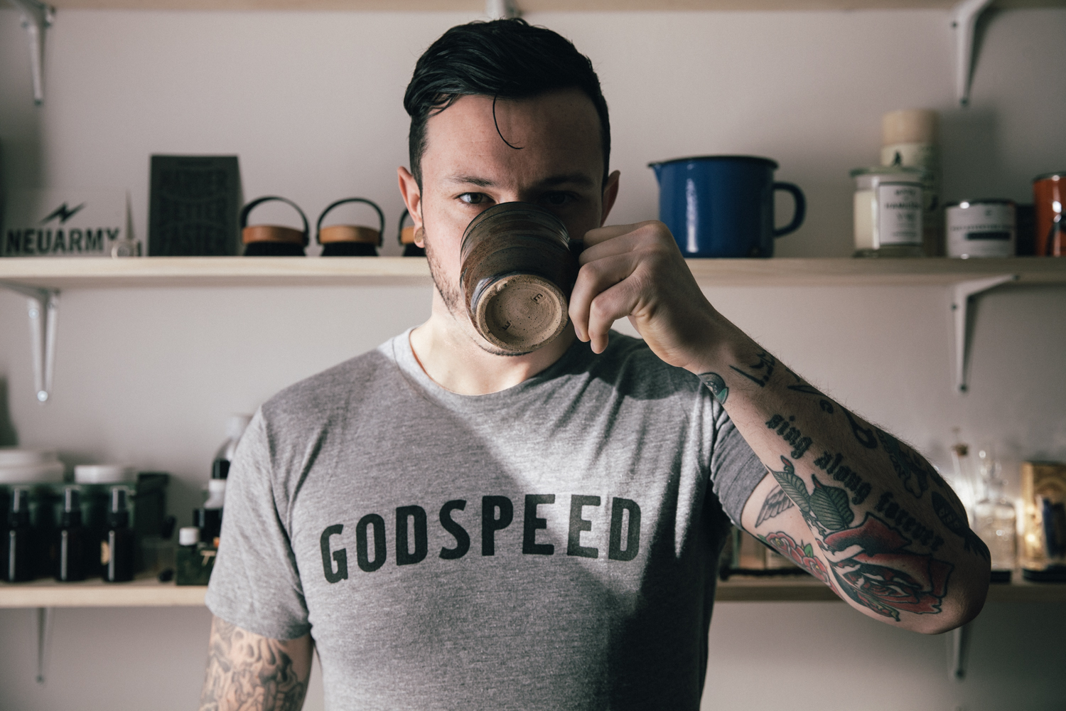 Allan Glanfield at home sporting a GodSpeed T.