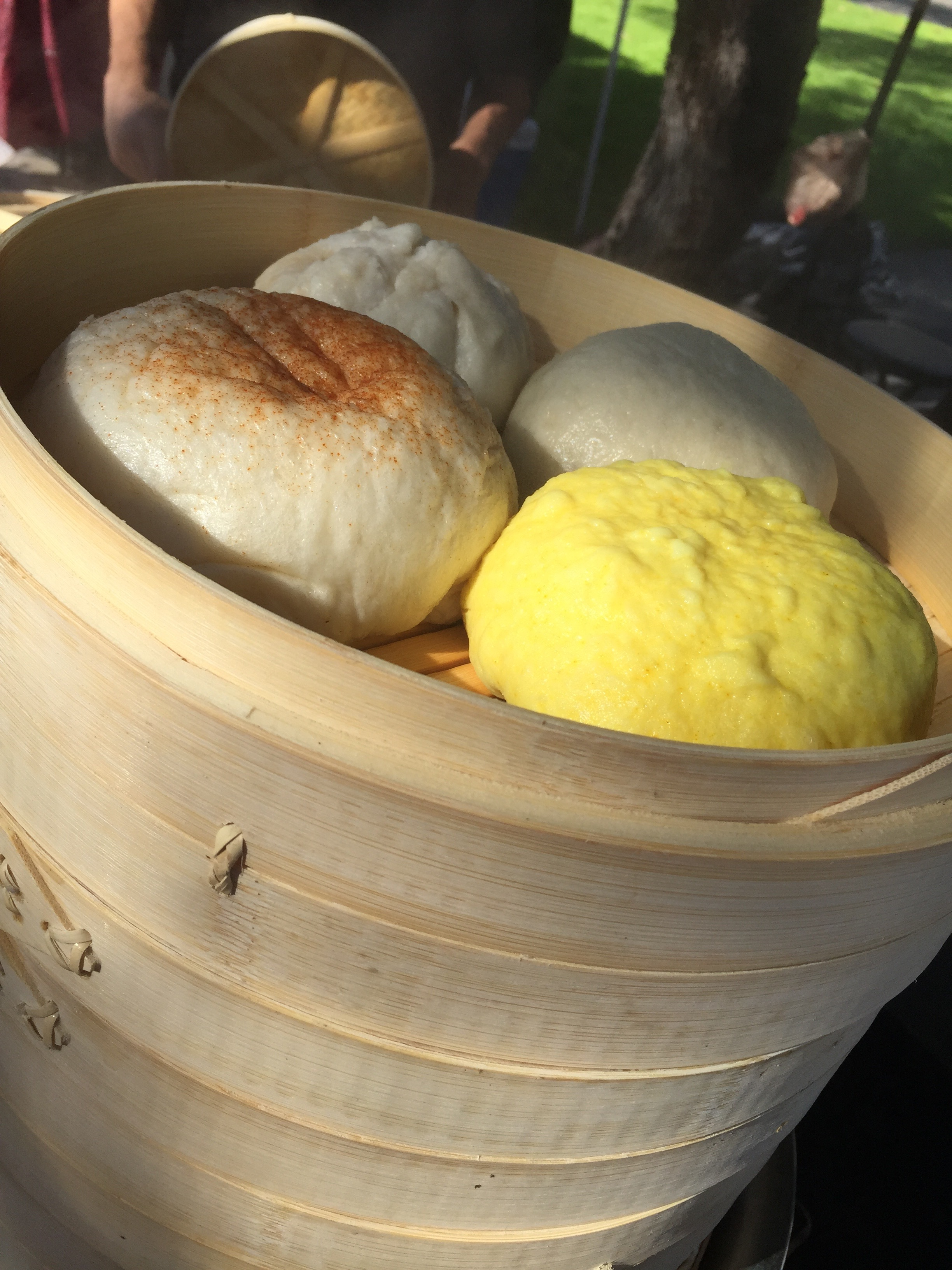 Steamed Bao in bamboo, soft, steamed bread with fillings