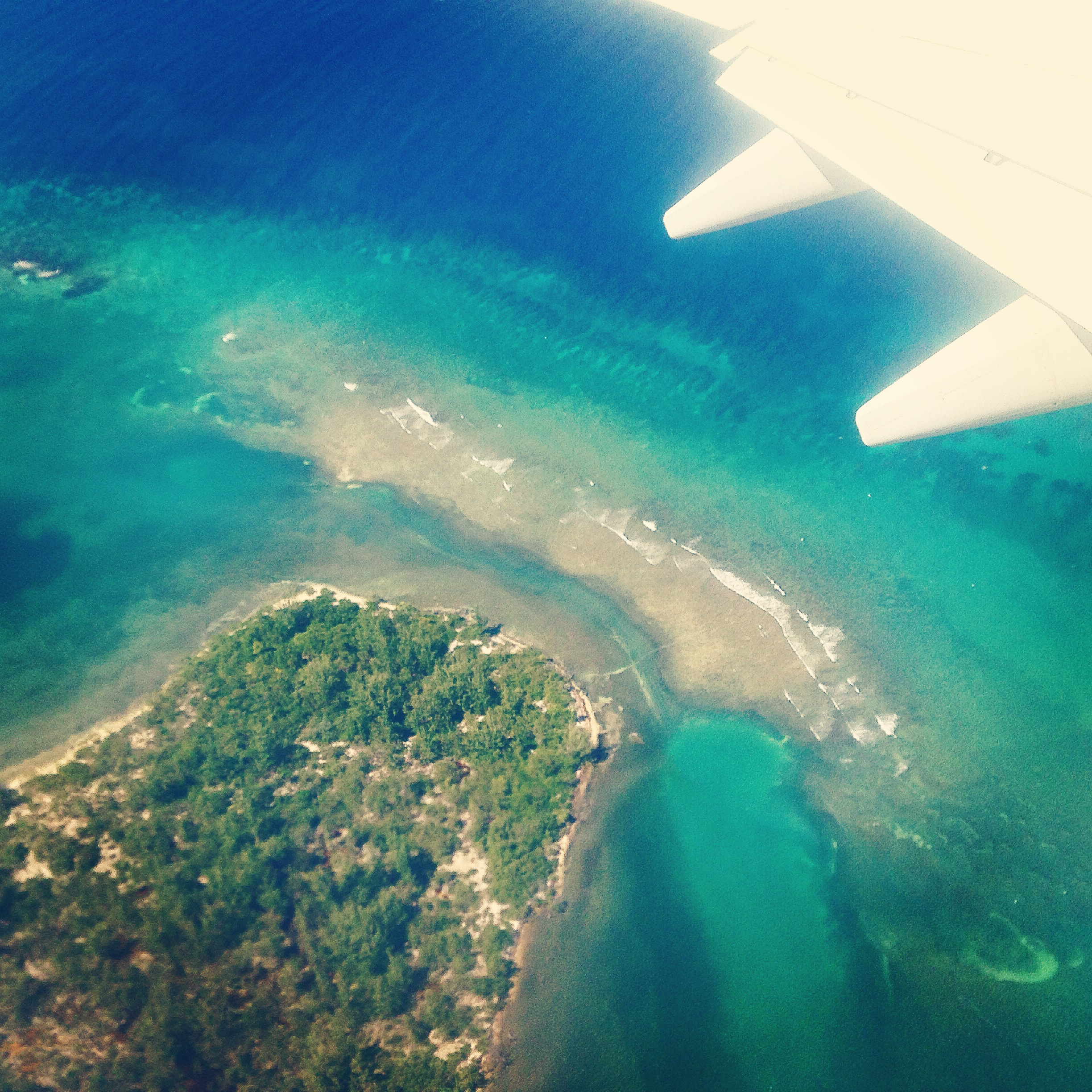 Birds eye view of Jamaica from airplane