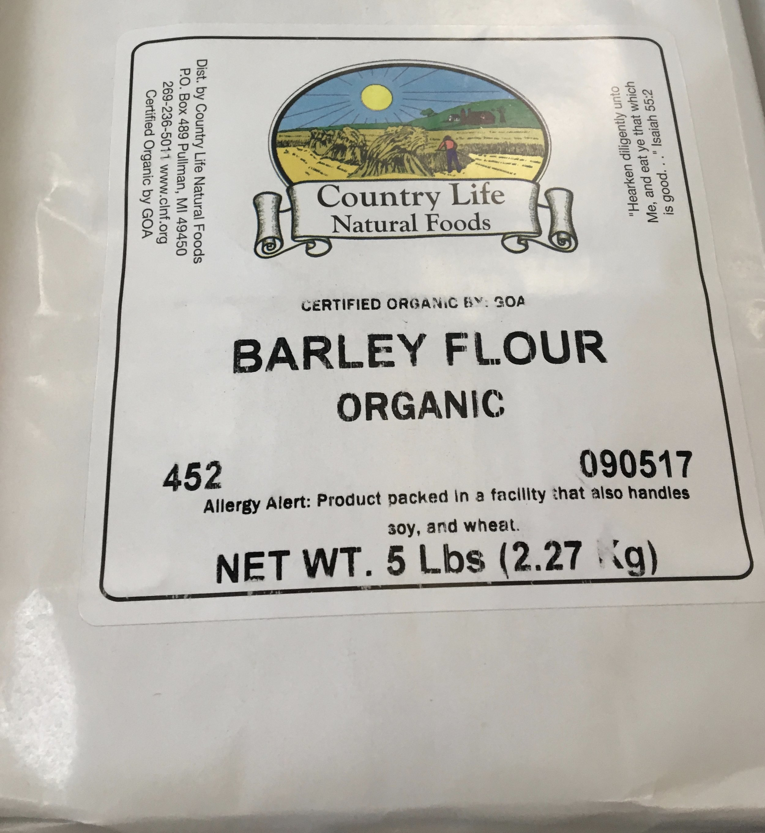 a variety of organic flours