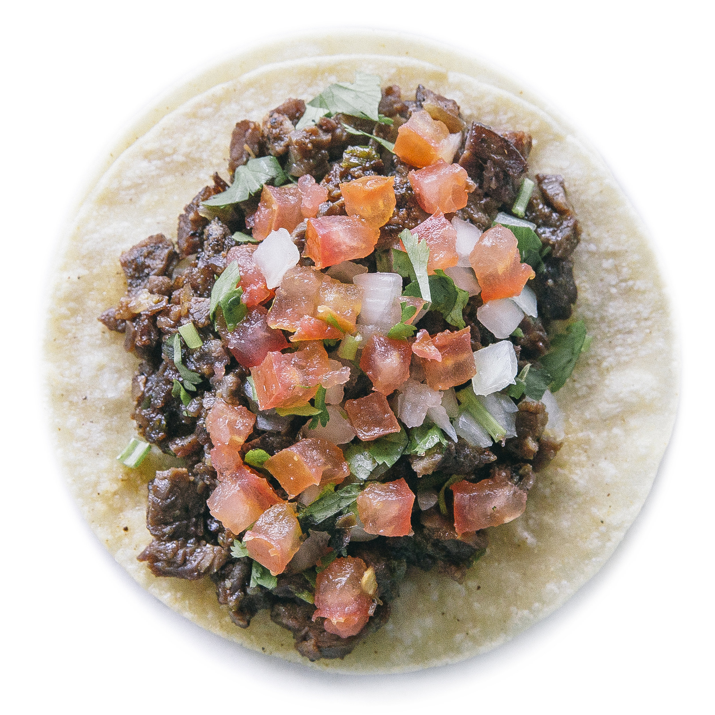 OMG STEAK TACO - $3.50SWEET & SAVORY STEAK & SCALLIONS. TOPPED WITH DICED TOMATOES, ONIONS & CILANTRO