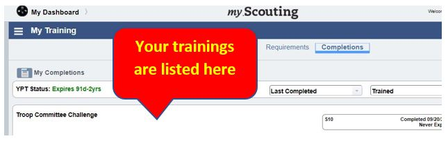 Step 4:  Review your completed trainings!