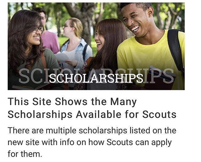 Heads up Scouts!! Refreshed site listing scholarship opportunities! #highschoolseniorscouts  https://www.scouting.org/awards/scholarships/