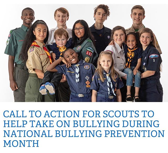 October is National Bullying Prevention Month, and, according to new BSA data, Generation Z believes bullying is the biggest issue facing their generation and the number one issue they want to solve.  As a Scout parent and/or leader, you know that, given the Scout Law, the BSA's anti-bullying education, and Scouts' daily Good Turns, Scouts are among the most prepared to take on bullying prevention. While Scouts pledge to lend a helping hand at all times, their peers may not always know who those Scouts are or that Scouts are important allies in the effort against bullying.  That's why we are asking all Scouts to wear their Scouting uniform to school on October 16th to make it easy for their classmates to find people they can count on for a kind word; a lunch buddy; or a resource to help them recognize, safely respond to, and report all types of bullying. The goal is that once other students know who the Scouts are, they will feel comfortable reaching out to those individuals whenever they need a friend. #scoutsagainstbullying #ascoutiskind  https://scoutingwire.org/call-to-action-for-scouts-to-help-take-on-bullying-during-national-bullying-prevention-month/