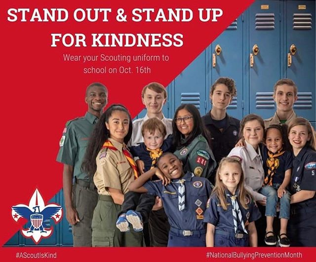 The BSA is asking all Scouts to wear their uniforms to school October 16th so they can show classmates they have an ally against bullying! Make sure to tag us on your pics! #ascoutiskind #nationalbullyingpreventionmonth #scoutslead #beascout #scoutsagainstbullying