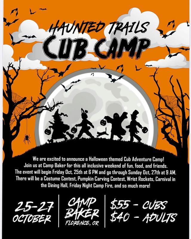 We are counting down to this super fun event!! 🎃👻 we can't wait to see the smiles and laughs on all our Cubs faces ❤️⚜️ #OTChauntedtrails #FallIntoScouting #campbaker  http://www.otcbsa.org/calendar-1/2019/10/25/haunted-trails-cub-camp
